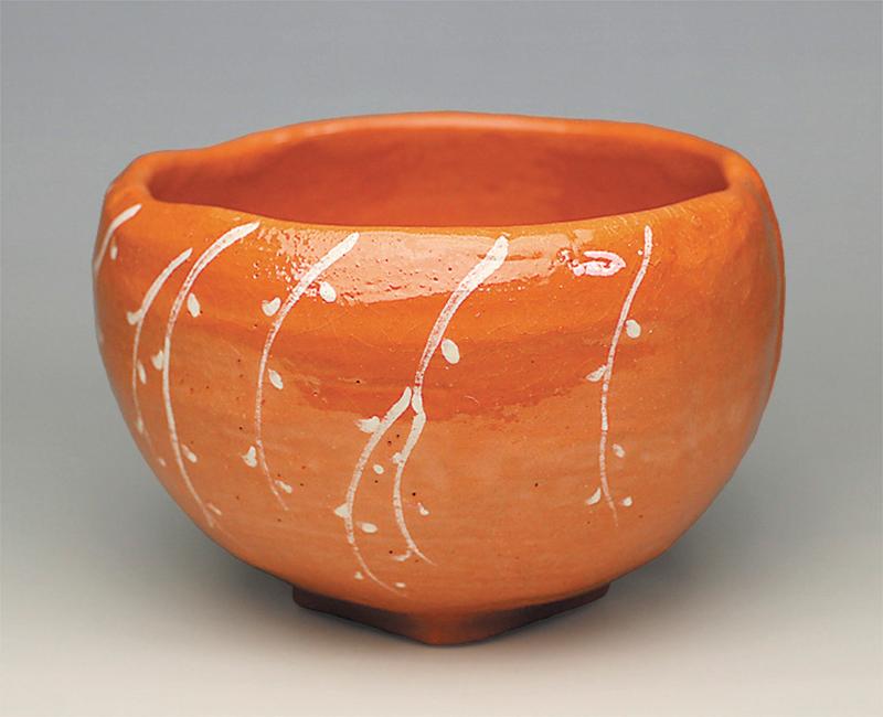 赤楽茶碗「桃柳」写