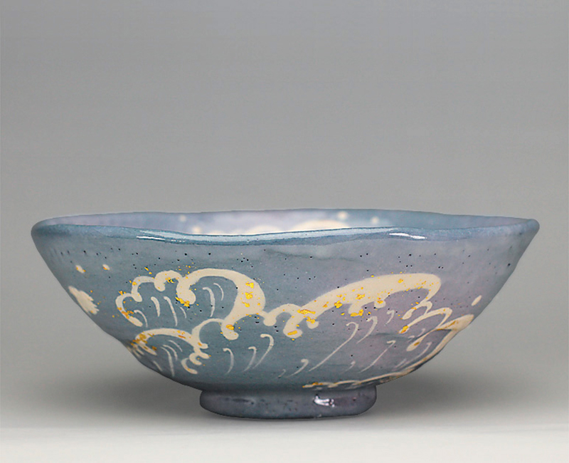 波千鳥の絵 平茶碗