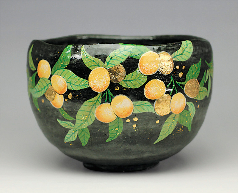 黒釉金柑の実の絵茶碗